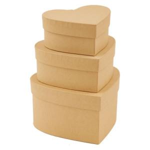 Pudełka tekturowe 3 szt. SERCE Papermania