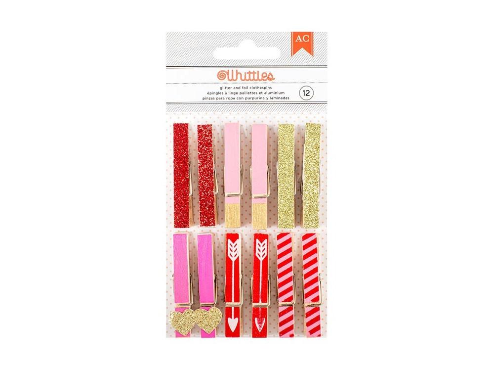 Valentine Whittles Clothespins - 12/PKG - AC