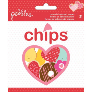 Ozdobne kształty - Pebbles Be Mine - Printed Chipboard Shapes 31 szt. AC