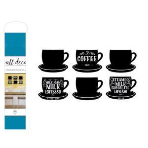 Naklejka na ścianę - Wall Decal - Coffee Cups - 6 szt. AC