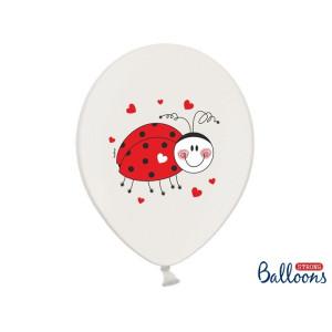 Balony 30cm, Biedronki, Pastel Pure White, 6szt.