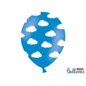 Balony 30cm, Chmurki, Pastel Cornflower Blue, 6szt.