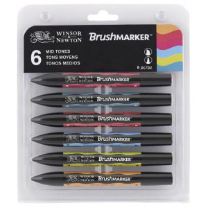 Brushmarker 6 Set Mid Tones W&N