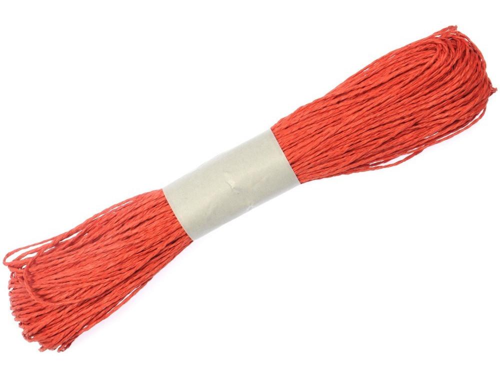 Sznurek ozdobny, papierowy w zwoju - czerwony