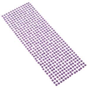 Perły samoprzylepne 6 mm, 504 szt. fioletowe