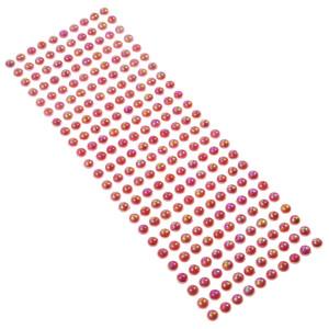 Perły samoprzylepne 8 mm, 240 szt. malinowe opalizujące