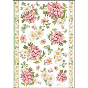 Rice Paper A4 Stamperia Peony e borders