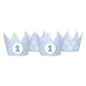 Korony Party, 1 urodziny, błękit, 10 cm, 4 szt.