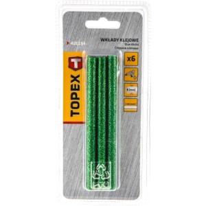 Wkłady klejowe brokatowe - Topex - 8 mm 6 szt. - Zielone