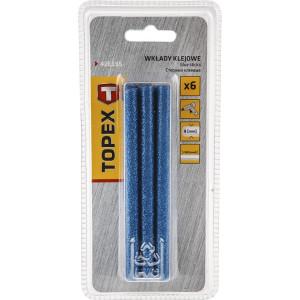 Wkłady klejowe brokatowe - Topex - 8 mm 6 szt. - Niebieskie
