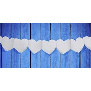 Girlanda ozdobna, bibułowa - Białe serca 11cm
