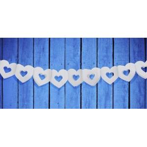 Girlanda ozdobna, bibułowa - Białe serca 9cm