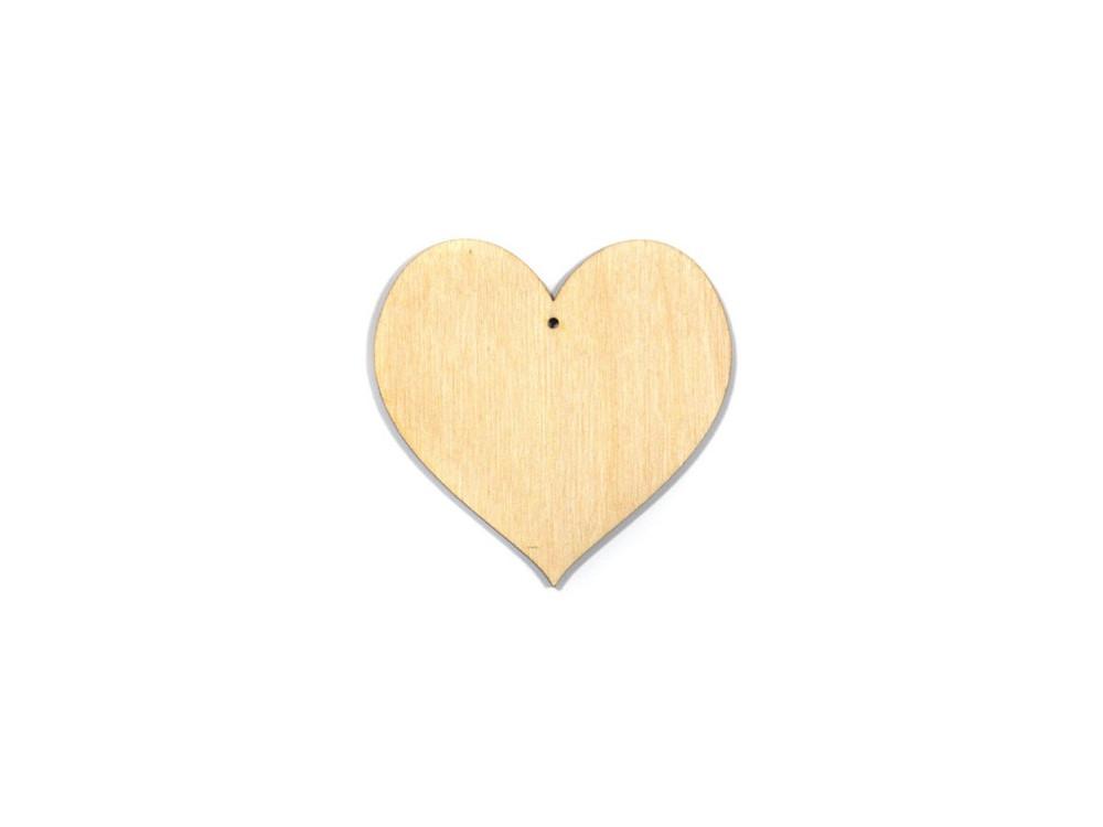 Serce drewniane ze sklejki, zawieszka - 6 cm