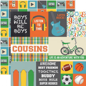 Papier Echo Park - Boy Cousins - Journaling Cards