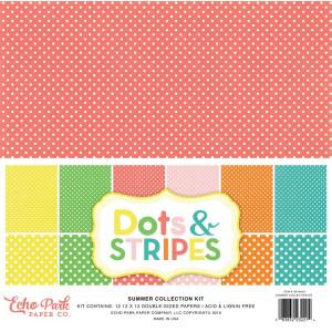 Zestaw papierów Echo Park - Dots & Stripes - Summer