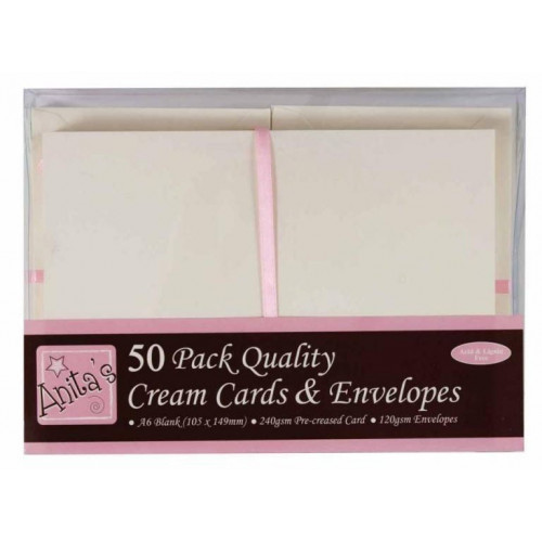 A6 Cards & Envelopes Set - Anita's - Cream, 50 pcs