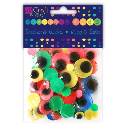 Neon wiggle eyes - DpCraft - round, neon, colorful, 75 pcs.