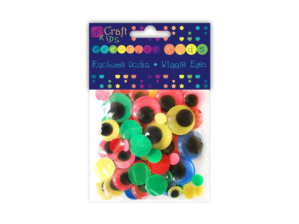 Ruchome oczka - DpCraft - okrągłe, neonowe, kolorowe, 75 szt.