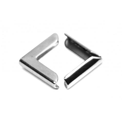 Narożniki do albumów metalowe proste 15 mm srebrne