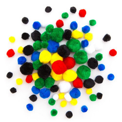 Assorted Acrylic Pompoms - DpCraft - fluffy, colorful, 78 pcs.
