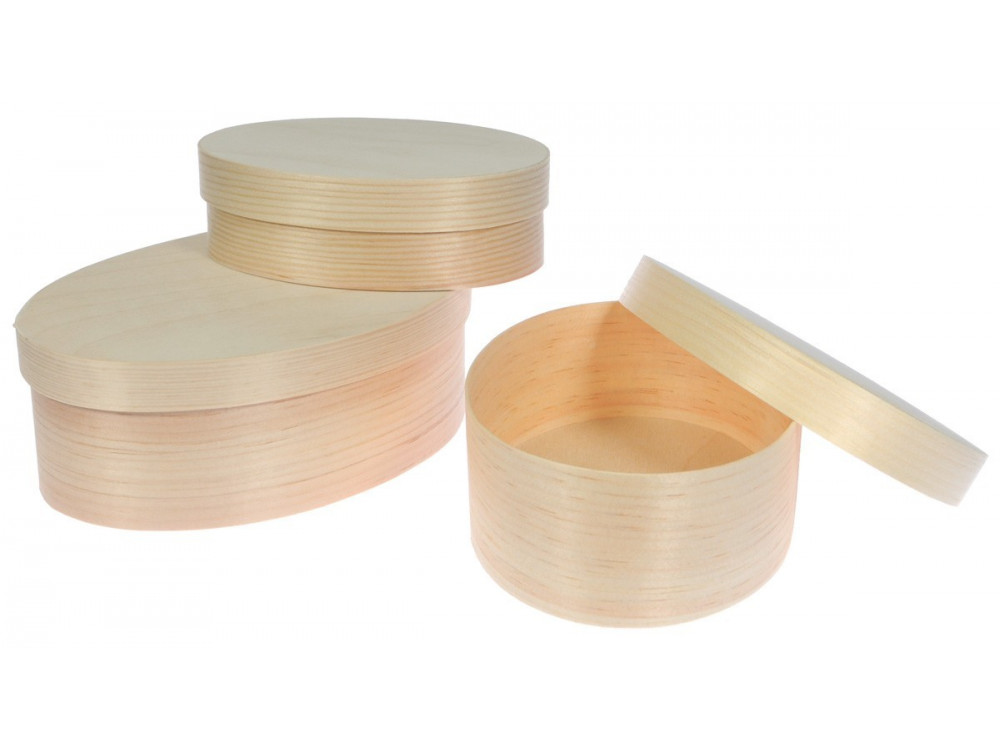 Wooden Oval Boxes 3 in 1