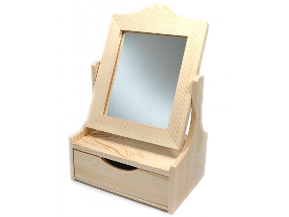 Toaletka drewniana z lustrem i szufladą