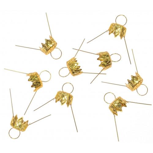 Bauble hanger 7 mm 9 pcs gold