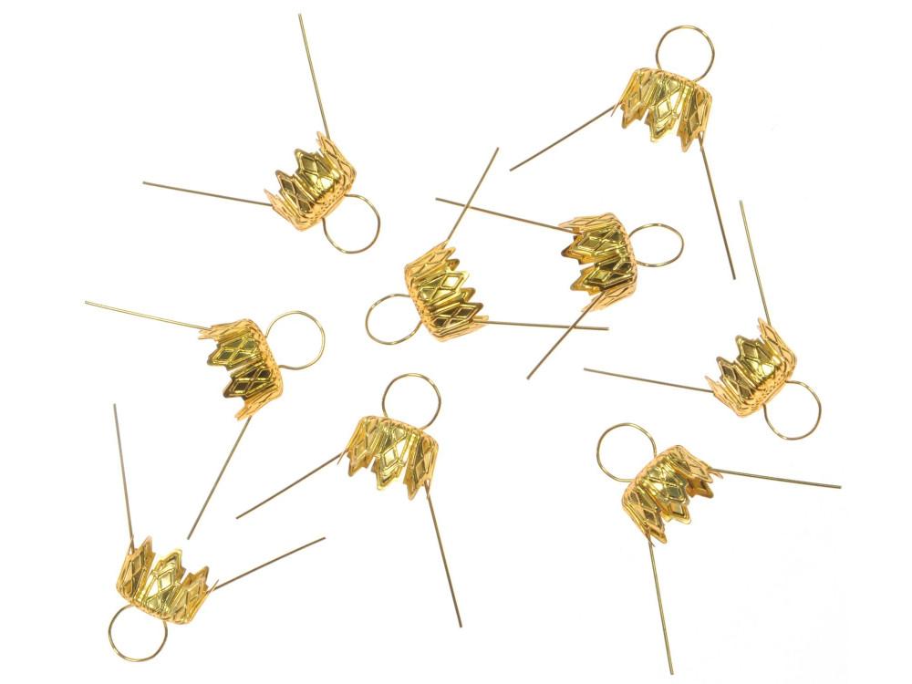 Bauble hangers - gold, 7 mm, 9 pcs.