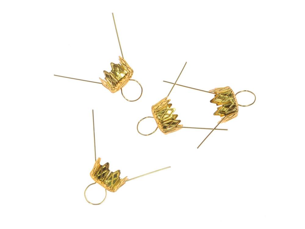 Zawieszki do bombek, styropianu - złote, 18 mm, 4 szt.