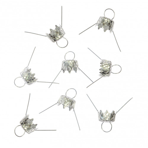 Bauble hangers - silver, 10 mm, 8 pcs.
