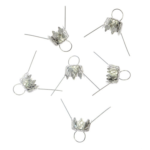 Bauble hanger 14 mm 6 pcs silver