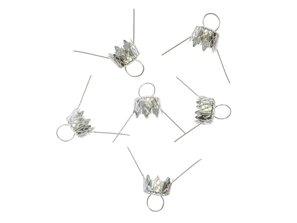 Bauble hanger - silver, 14 mm, 6 pcs.