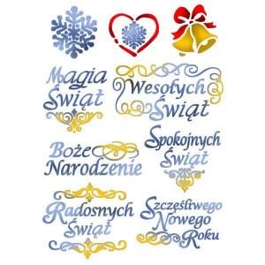 Szablon A4 Stamperia - Życzenia Świąteczne po polsku