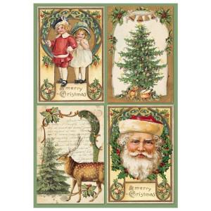 Papier ryżowy A4 Stamperia - Pocztówki Mikołaj