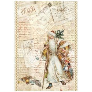 Papier ryżowy A4 Stamperia - Mikołaj pocztówki