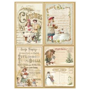 Papier ryżowy A4 Stamperia - Świąteczne pocztówki