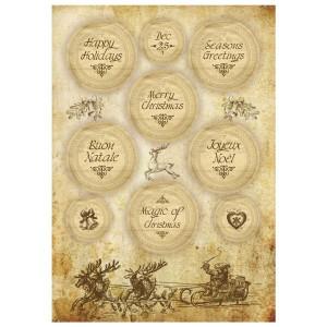 Papier ryżowy A4 Stamperia - Świąteczne napisy w sepii