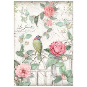 Papier ryżowy A4 Stamperia - Płotek z różami i ptak