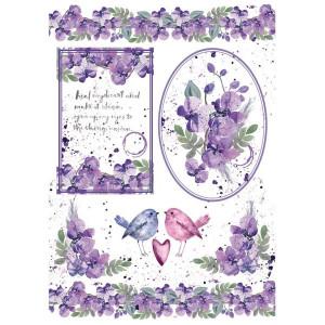 Papier ryżowy A4 Stamperia - Akwarela fiołki i ptaszki