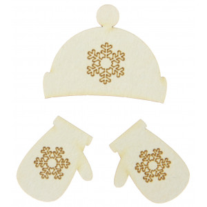 Cardboard decorations - Hat and gloves, 3 pcs.