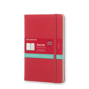 Notatnik Moleskine Two-Go - Raspberry Red Plain/ Ruled Medium