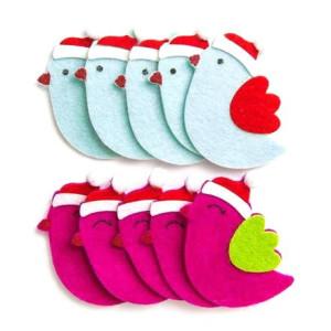 3D felt stickers - Winter birdies , 10 pcs