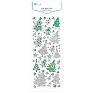 Naklejki brokatowe - Śnieżynki , Silver & Green 53 szt.