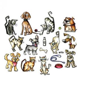 Wykrojnik Framelits - Mini Crazy Cats & Dogs, 45 szt.