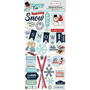 Zestaw naklejek chipboard Carta Bella - Snow Fun