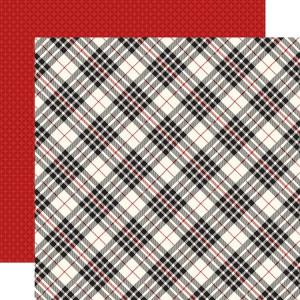 Papier Carta Bella - Christmas Delivery - Black & Cream Plaid