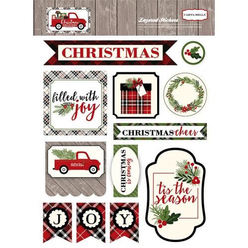 Zestaw wypukłych naklejek Carta Bella - Christmas Delivery