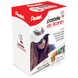 Zestaw pasteli do ozdabiania tkanin z czapką - Pentel - 15 kol.