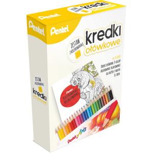Zestaw kredek ołówkowych z kolorwanką - Pentel - 24 kol.
