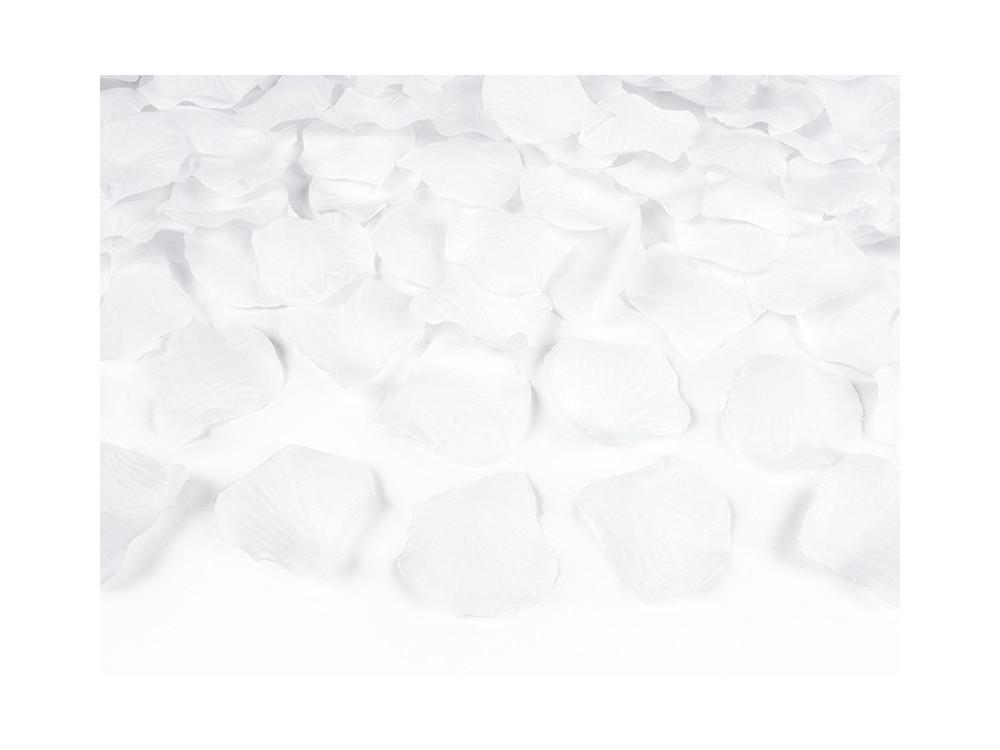 Wystrzałowe konfetti tuba - płatki róż, białe, 80 cm